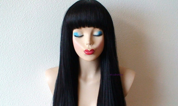 Black Wig. Long Straight Hair With Straight Across Bangs Wig