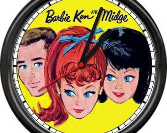 Barbie Ken Midge Doll Retro Vintage 1960's Paper Dolls Poster Sign Wall Clock