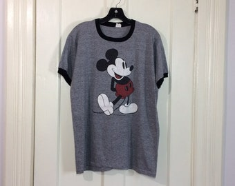 1970s Mickey Mouse heather gray Tri Blend faded black ringer t-shirt looks size Medium 20x26 Disney character