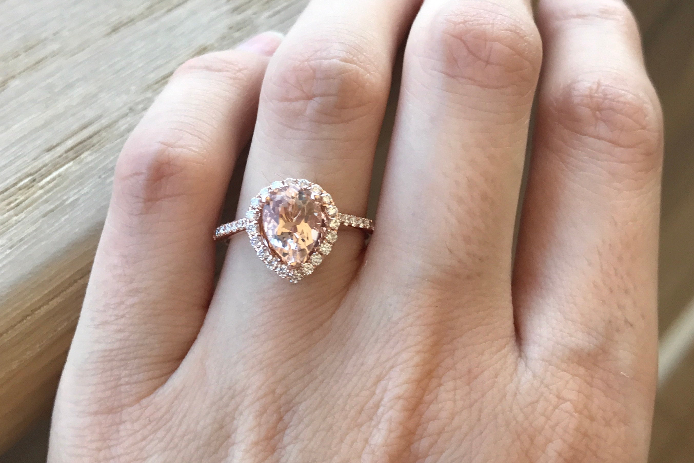 fullxfull engagement pear gold dezy il solitaire large ring listing rose alternative pink rings diamond morganite halo
