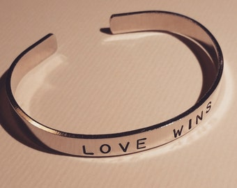 """Love Wins - Hand-Stamped Aluminum Cuff Bracelet - 1/4"""" wide band- Pride/Marriage Equality"""