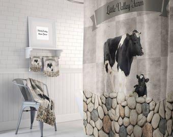 Farmhouse Chic Cow Shower Curtain, Custom Personalized, Bath Mat, Bath Towels