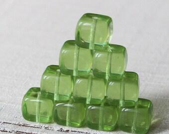 8x11mm Large Glass Cube Beads For Jewelry Making  - Czech Glass Beads - Transparent Peridot Green - Choose Amount