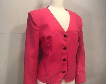 Leslie Fay pink  linen fuchsia spring jacket hot pink preppy lightweight retro blazer