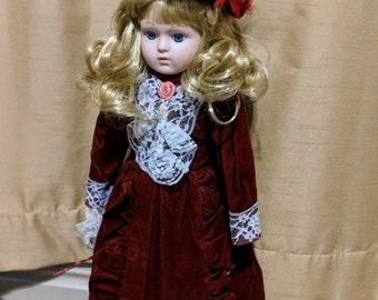 Christmastime Vintage Porcelain Doll