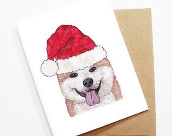 Christmas Card - Akita, Dog Christmas Card, Cute Christmas Card, Holiday Card, Xmas Card, Seasonal Card, Christmas Card Set
