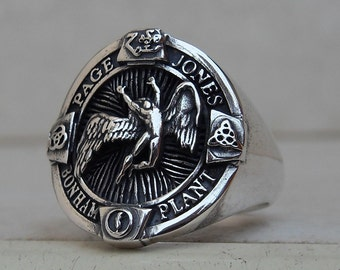 Heavy 3D Led Zeppelin Swan Song Zoso Ring Solid Sterling Silver 925