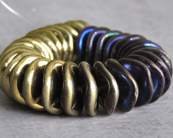 California Blue 12mm Ripple Czech Glass Bead : 10 pc Gold Blue Wavy Disc Bead