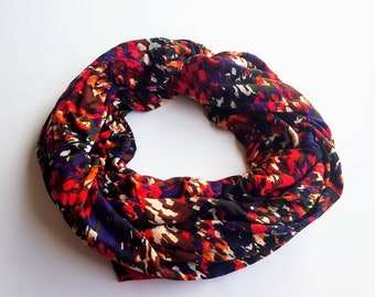 Knit Print Abstract Multi-Colored Splatter Infinity Scarf