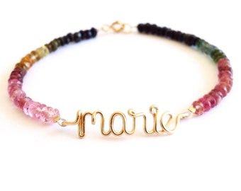 Gold name Bracelet with birthstones. 14k Gold Filled name bracelet with Watermelon Tourmaline. Aziza Jewelry