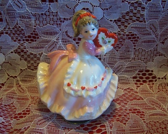 Rare HTF Lefton Musical Valentine Girl Figurine, Japan