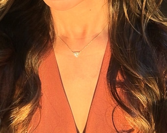 Diamond Triangle Necklace // 14kt yellow, white, pink gold // natural diamonds // pave set diamond necklace