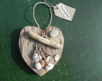 Natural Driftwood heart and its shells hanging