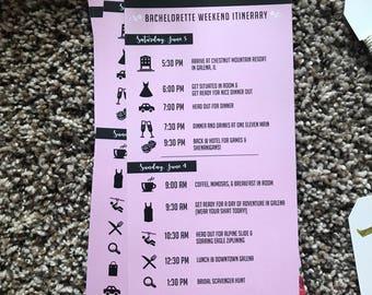 Personalized Bachelorette Party Itinerary