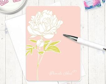 carte de note personnalisée définie papeterie floral - fixes personnalisé une fleur de pivoine - set de 8 cartes pliées - PRETTY-