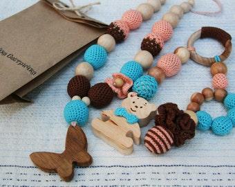 Nursing set Teething set Nursing necklace and teething Toy set  Crochet teething necklace Breastfeeding WoodenTeether Mother's day sale