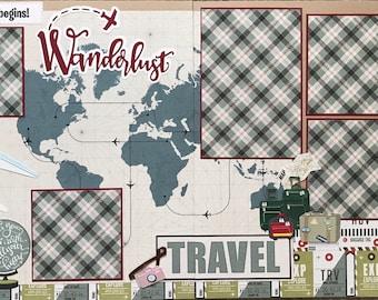 Wanderlust Travel Scrapbook Page Kit