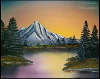 OIL PAINTING 16x20 Golden Yellow Mountain Sunset Scene Landscape Painting Lake