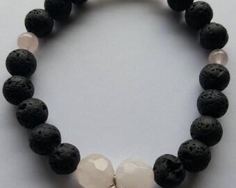 Lava Rock bracelet with Rose Quarts