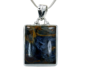 Pietersite Necklace Pietersite Pendant Sterling Silver Pendant Leather Cord AF866
