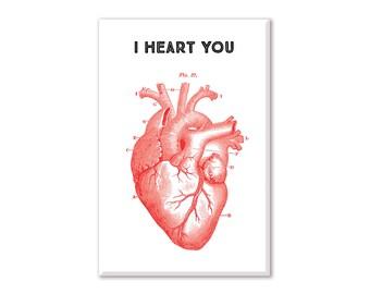 Love Fridge Magnet, Vintage Heart Magnet, Refrigerator Magnet, Fridge Magnet, Kitchen Decor, Anatomical Heart magnet