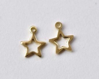 50 pcs Raw Brass Tiny Star Frame Charms 6mm A8744