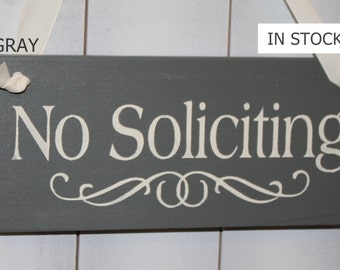 No Soliciting Sign/Decorative Sign/ YOU Choose Color/Wood Sign/Outdoor Sign/Front Door Sign/Ready to Ship