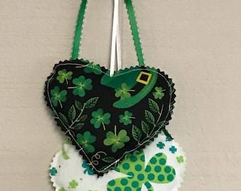 Trèfle vert coeur tentures, des décorations murales de coeurs St.Patricks suspendre, tissu de décoration murale, St. Patricks