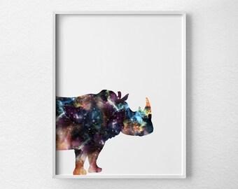 Rhino Art, Rhino Print, Rhinoceros Decor, Animal Art, Rhino Nursery, Nebula Art, Rhino Poster, Dorm Decor, Wildlife Art, 0396