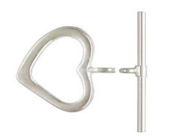 925 Solid Sterling Silver 12.5x13.5mm Heart Toggles