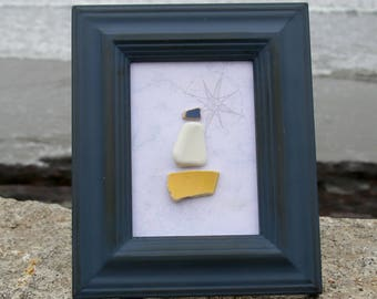 Sea Pottery Sailboat, Compass Rose Nautical Chart Framed Art