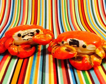 Norcrest Anthropomorphic Silly Red Crabs Salt and Pepper Shakers made in Japan circa 1950s