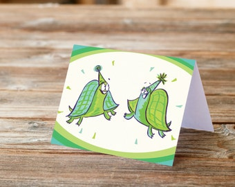 Turtle Birthday Party Happy Birthday funny Greeting Card