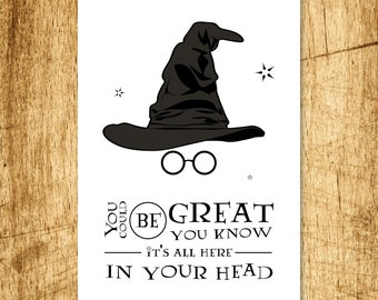 Printable - Wizard Sorting Hat Birthday Card. DIY Digital Download, design features the sorting hat, glasses and typography
