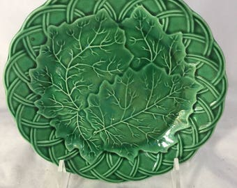 Green Majolica Plate With Basketweave Edge