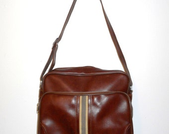 Vintage Luggage Shoulder Bag Brown Tote Stripe Tan Retro Travel Tourist Vacation Carry On