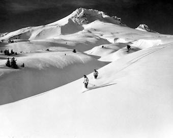 "Skiing on Mount Hood, Oregon Vintage Photograph 8.5"" x 11"" Reprint"