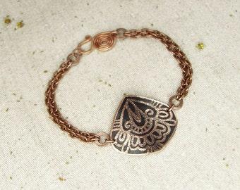 Copper Bracelets with oriental patern