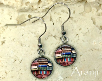 Glass dome book earrings, book earrings, bookshelf earrings, book dangle earrings, book drop earrings, bookshelf drop earrings, HG152DP