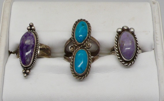 Lot of 3 Native American Navajo Sterling Silver Turquoise, Charoite Ladies Rings