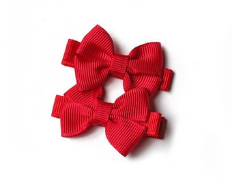 Valentines Day Hair Bow. Small Solid Red Baby Hair Clippies. Toddler Girl Hair Clip Set of 2. Simple Red Hair Bows With Four Loops