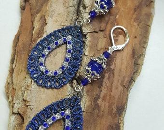 Sapphire & Crystal Filigree Earrings with Rhinestones