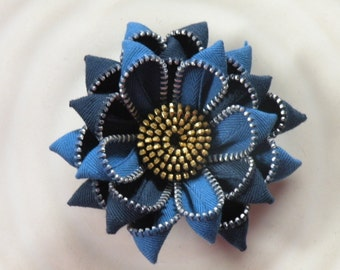 Recycled Vintage Blue Zipper Flower Brooch or Hair Clip