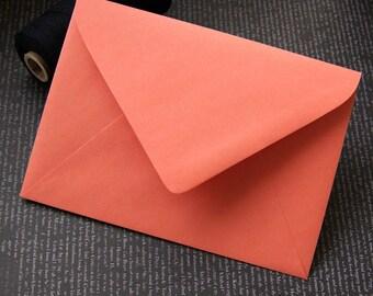 "10 Papaya (Dark Coral) RSVP Envelopes . 4Bar Envelopes . 3.625"" x 5.125"""