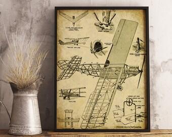 Vintage Airplane Print - INSTANT DOWNLOAD - Boys Room Printable, Wall Decor, Antique Aircraft Diagram, Aviation Art, plane blueprint
