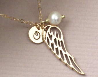 Angel Wing Necklace with Hand Stamped Disc & Pearl in Gold fill Personalized Jewelry Charm Necklace Wing Jewelry Sentiment Jewelry Guardian