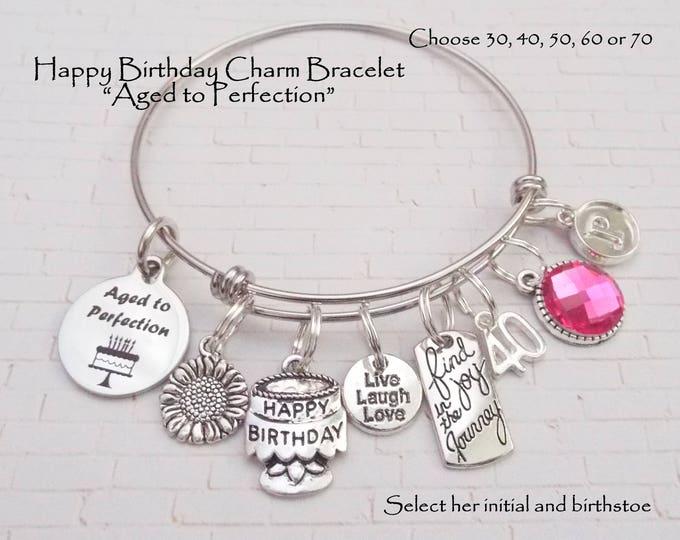 Birthday Gift for Her, 40th Birthday Gifts for Women, Woman's Birthday Jewelry, Friends' Birthday Gift,  Custom Birthday Bracelet, Girl Gift