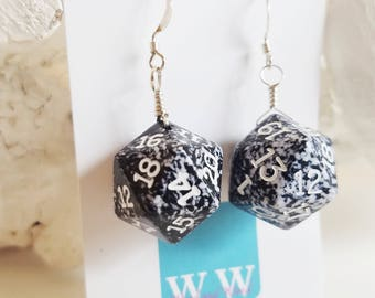 READY TO SHIP D20 Twenty Sided Dice Earrings - Black and White Speckled with White Numbers - Geeky Gamer Jewelry