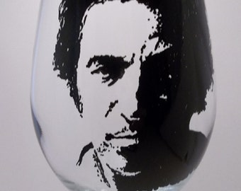 "Bruce Springsteen, ""The Boss"", Hand painted glass, Painted wine glass"