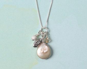 Freshwater Coin Pearl Charm Necklace (Love, Joy, Peace, Hope, Faith)